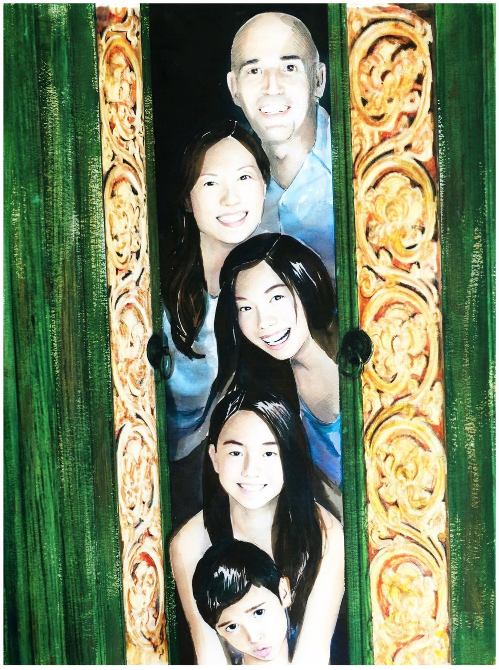 A family illustrated portrait in watercolour and ink :)