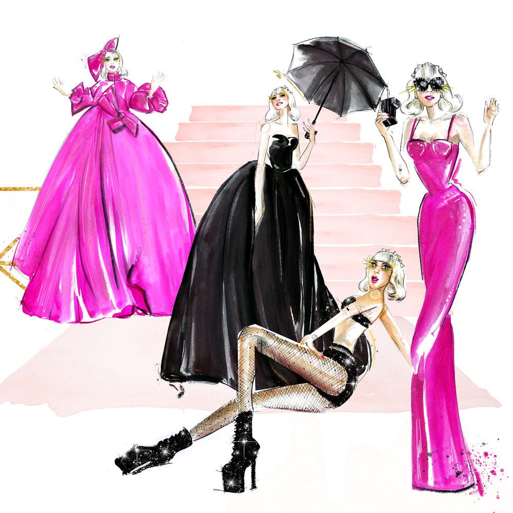 Lady Gaga Met Gala 2019 illustration