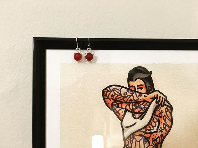 Our Audrey Sleepers, set w/ Carnelian stones hangin' with fave print from @bigboypinups 💯