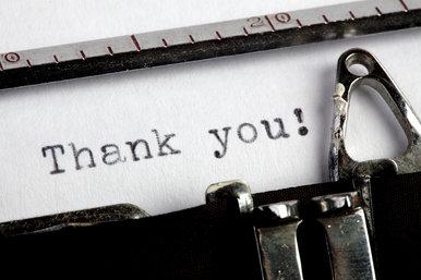 Thank you on old typewriter