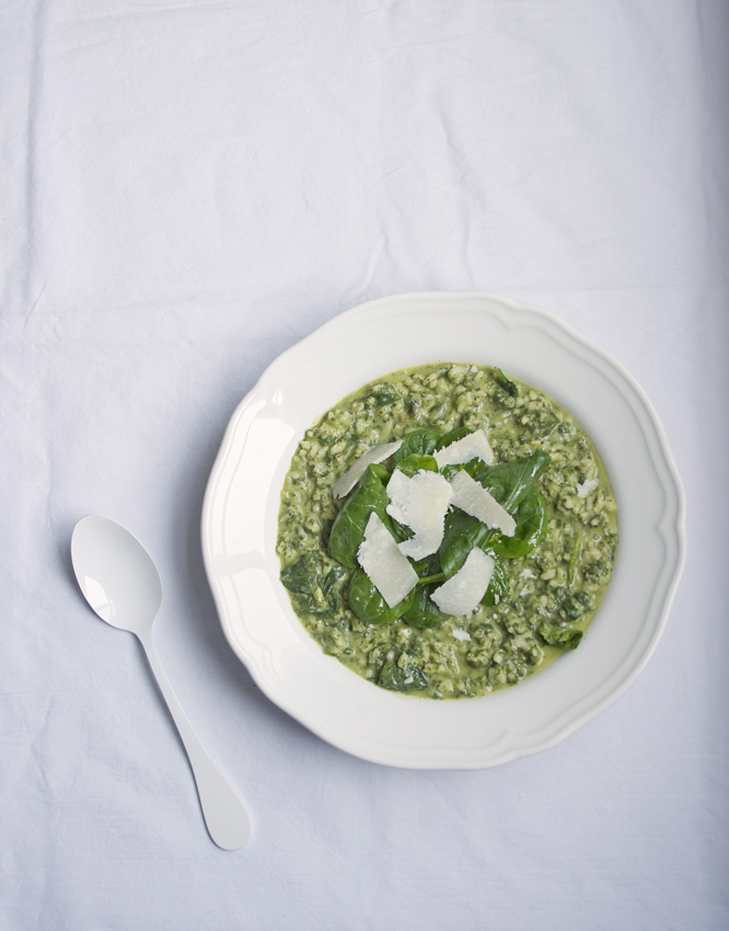 Spinach Risotto with Parmesen Cheese & Nutmeg
