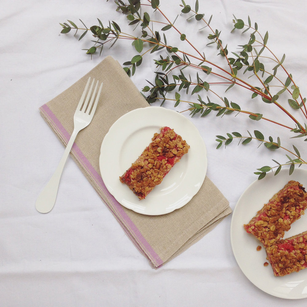 Rhubarb Crumble Flapjack Slices