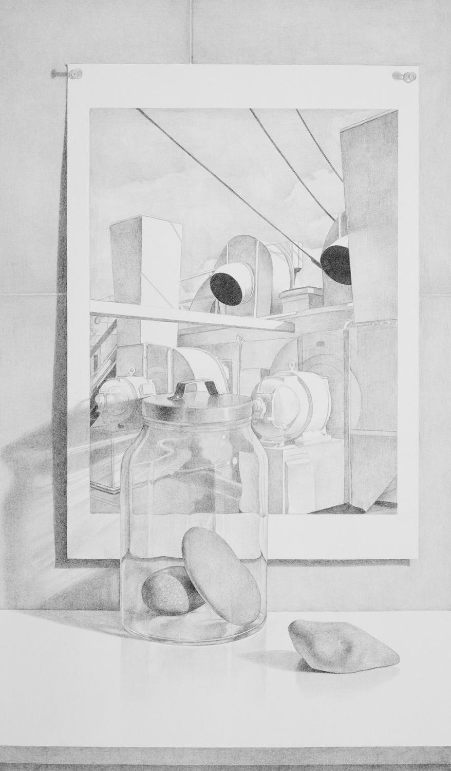 Rocks, Glass Jar with Sheeler