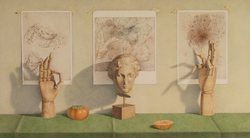 Leonardo Triptych with Persimmons