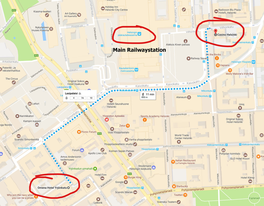 Walking directions from Omena Hotels to Railwaystation & Casino, Helsinki.