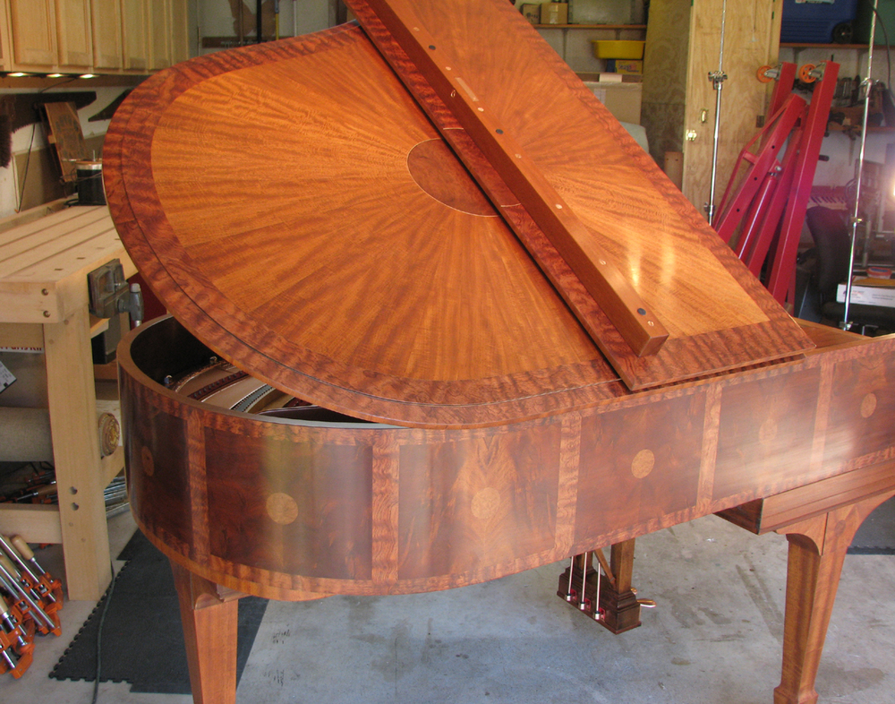 "Steinway & Sons ""Sunburst"" veneer project. Veneer design and execution by Watson Piano Works, 2015."