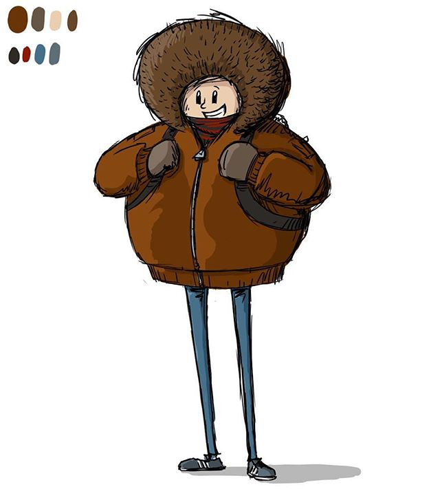 skinny guy, puffy coat. #springinchicago⠀ by @pencil_jockey⠀ .⠀ .⠀ .⠀ .⠀ .⠀ #selfportrait #characterdesign #illustration #colorstudy⠀ #palette #caricature #digitalart