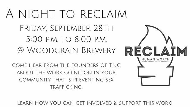Tomorrow night at @woodgrainbrew! Come and invest in the prevention of sex trafficking right here in your community! #prevention #sextrafficking #tnc #humantrafficking