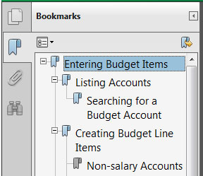 Use F4 or F6 to get to the bookmarks