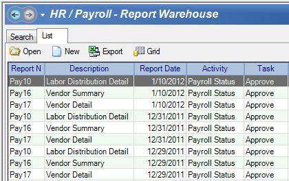 Report Warehouse Screen Capture