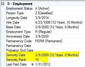 Seniority Rank Field in Employee Record