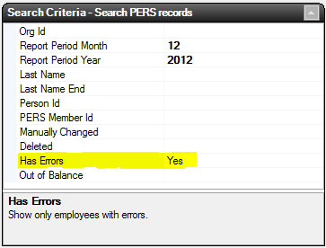 PERS Error Search