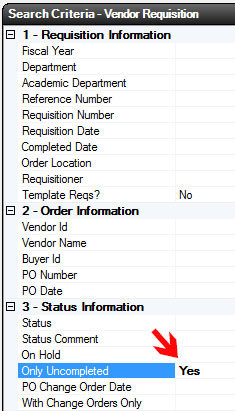 Vendor Requisition Search - Only Uncompleted Flag