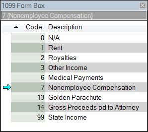 1099 Form Box Lookup