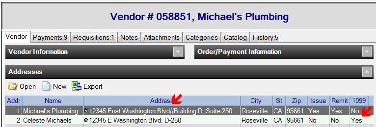 Vendor 1099 Address