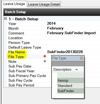 Leave Transaction Subfinder Import