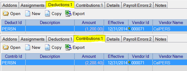 December Deduction and Contribution Adjustments in Adjust Payroll Activity