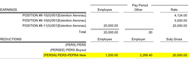 Pay Detail for November (before adjustments)