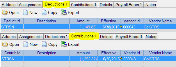 June Deduction and Contribution Adjustments in Adjust Payroll Activity