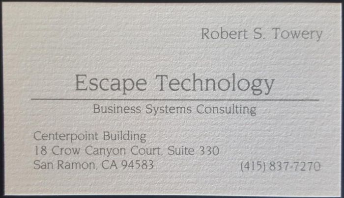 Bob Towery's first business card.