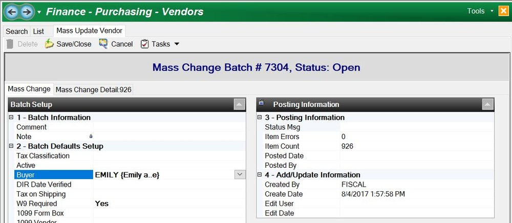 In the NEW Mass Change Vendors, you can assign buyers in a few clicks of a mouse.