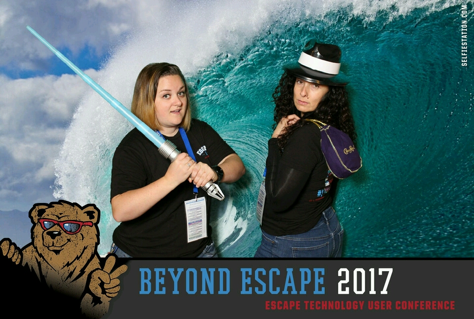 Amanda & Ginny riding the waves at the selfie booth.