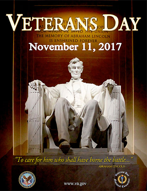The photo above is the winner of the 2017 Veteran's Day Poster Contest. Find past year's winners at the  Gallery of Veteran's Day Posters .