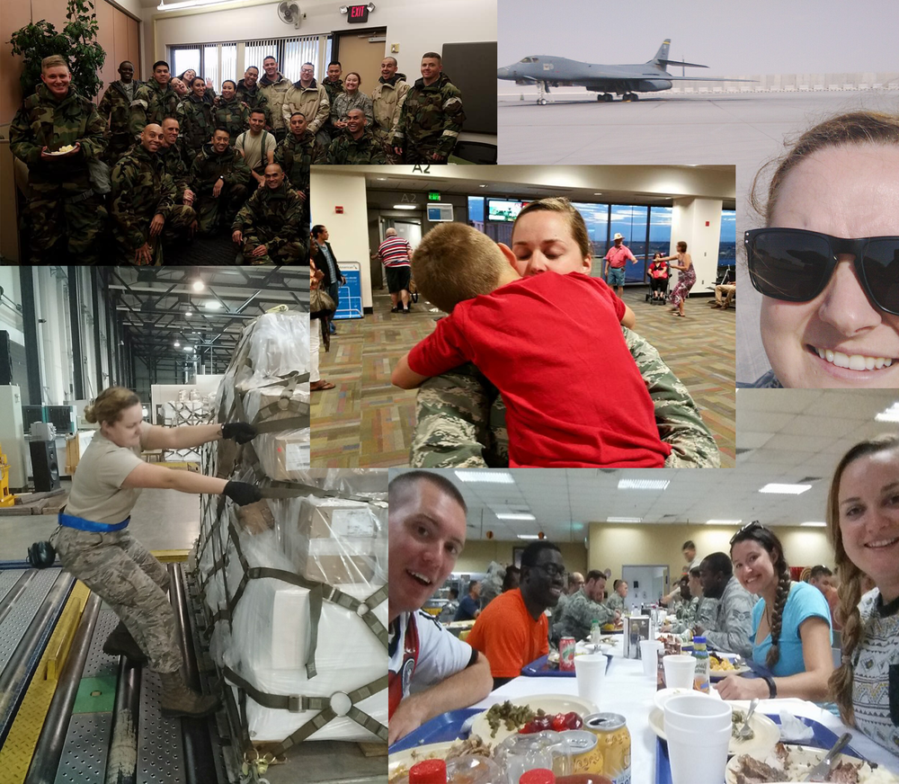 Air Force Staff Sergeant Amanda Erwin is pictured above clockwise from top left: during an exercise for chemical environments, with an Air Force bomber in Qatar, sharing a holiday meal with the troops, and loading a pallet in special handling for the aerial port. In the center, she hugs her son good-bye. Amanda also serves as a Software Support Analyst for the Finance team at Escape Technology.