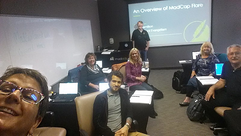 Me and some of my fellow technical writers, learning from Mike Hamilton, VP of Product Evangelism, MadCap Software (in front of the screen).