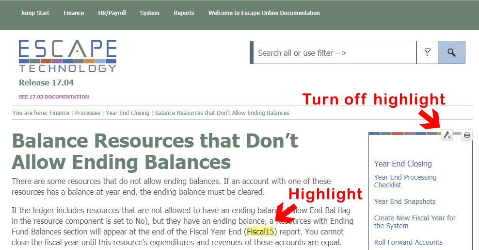 Now if you search for Fiscal15, that will be highlighted in the found pages. To turn off the highlighting, you can click the highlight toggle.