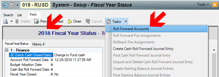 """The Roll Forward Accounts task is the first task of the new fiscal year. You perform this task from the """"base"""" year, meaning that if you want new accounts in 2019, you use the task in 2018."""