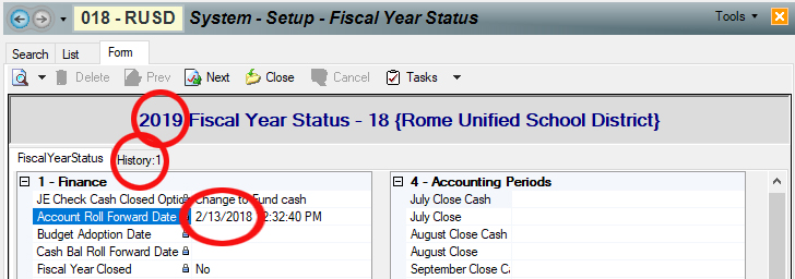 """To review the results of the Roll Forward Accounts task, you go to the """"account"""" year, meaning if you want to see what happened in 2019, you open the 2019 Fiscal Year record."""