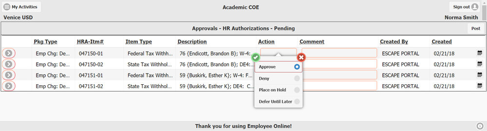 Approvers can review a list of all workflow approvals pending their approval. From the list, they can approve, deny, defer or place on hold. They can also enter a comment that will be written to the Approval record in Escape Online.