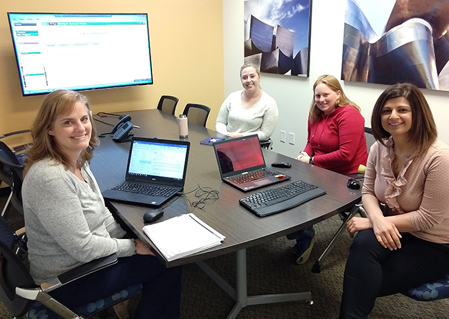 Picture above from left to right: Christine Kingery,Retirement and Payroll Analyst,Butte County Office of Education; Stephanie Guest, Software Support Analyst; Diana Davis, Software Support Analyst; Elen Meltonyan,HR/Payroll Product Area Team Manager.