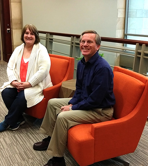 Vicki Pugliese and Bob Lehman, both software developers at Escape Technology.