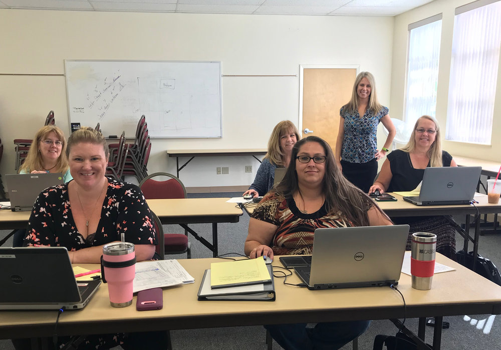 A working session at Mendocino COE in June. Jennifer Escamilla, Escape Product Manager, is standing in the background.