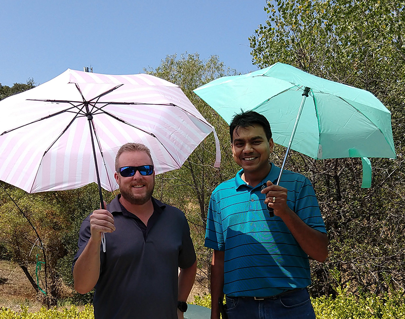 Mike Long and Shiven Chand of ETS taking the El Nino drill seriously.