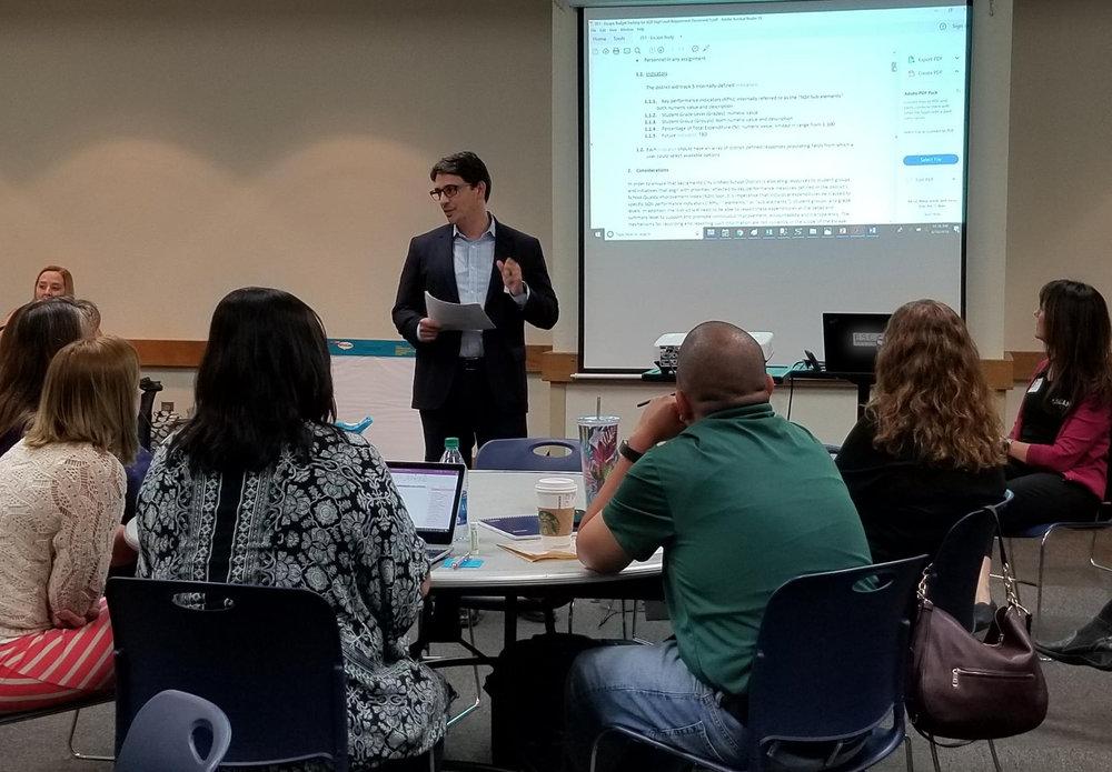 Elliot Lopez, CIO at Sacramento City USD leads a discussion of KPI's.
