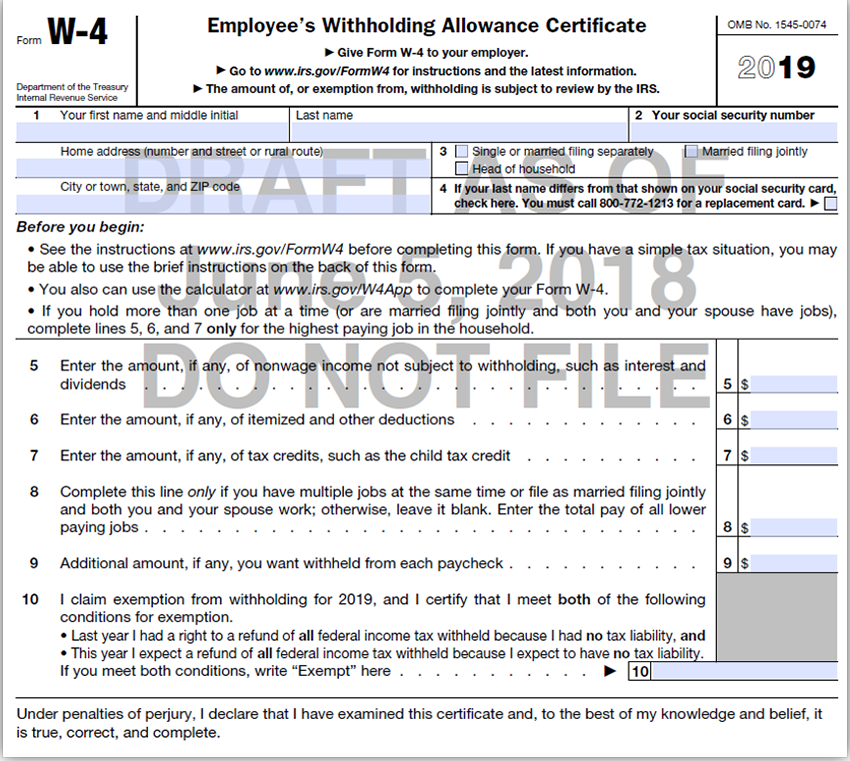 IRS draft of the W-4 form for 2019.