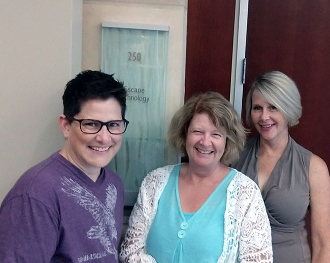 Pictured from left to right: Margie Wells, Implementation Analyst; Carole Williams, Director, Customer Care; and Lisa Sierra, Marketing Communications Manager.