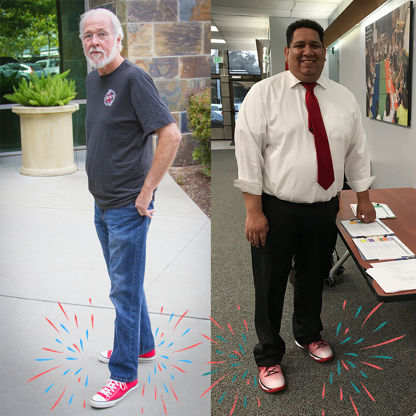 "On the left, Ken Custard, Software Developer at Escape sports some red ""chucks"" while on the right, Francisco Delgadillo, Financial Secretary at Monterey COE sports a pair of bright red running shoes with ombré effect."