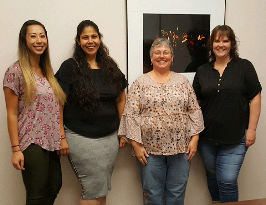 HR/Payroll Staff. Pictured above left to right: Lauren Simmonds, Accounting Specialist; Beatriz Sanchez, HR Technician; Cathleen Kucz, Accounting Specialist/Payroll; Janet Jones, HR Specialist.