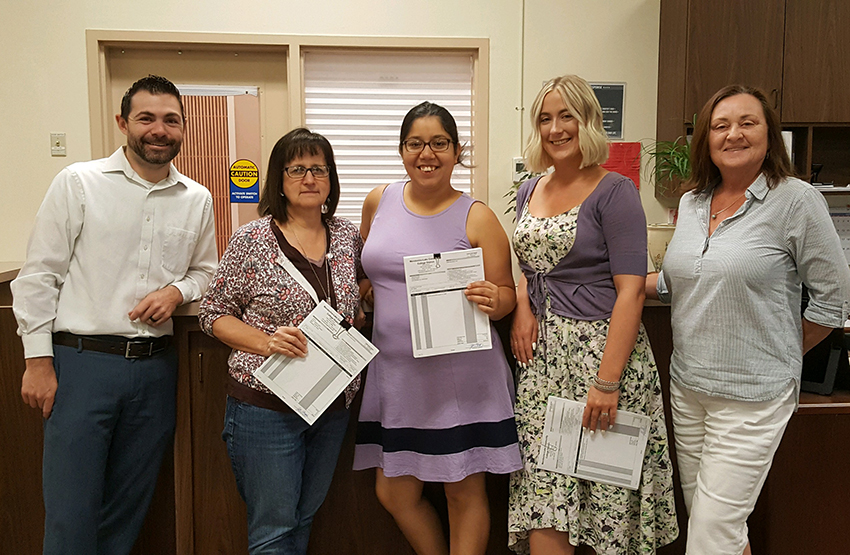 Fiscal Staff. Pictured above left to right: Joe Atherton, Director of Fiscal Services; Patti Gulyas, Accounting Technician; Mayra Sanchez, Accounting Specialist; Eliza Fields, Accounting Specialist; Kaye Boswell, Budgets and Grants Technician.