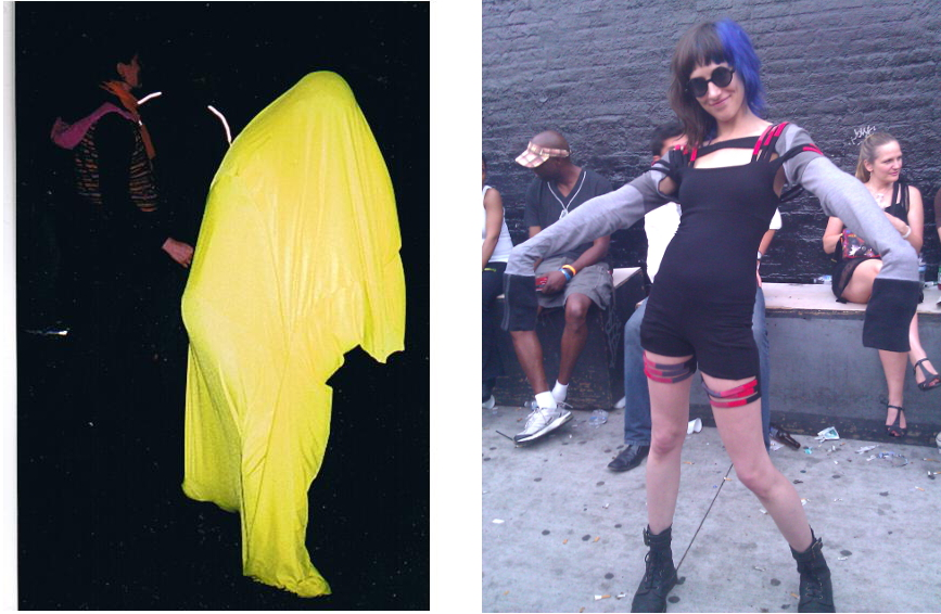 Left: My friend Teri in an amazing self-made outfit, 2004. Right: Awesome customer Colleen in POUTFITS, 2012