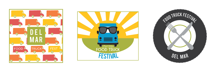 Concept t-shirt graphics for the annual Food Truck Festival in Del Mar.