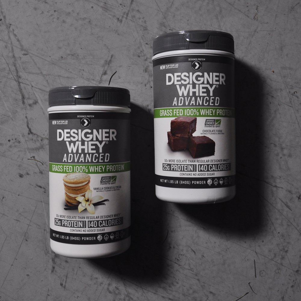 Designer Whey Advanced -  collaborated on front panel design, in charge of designing back and nutritional panel layouts.