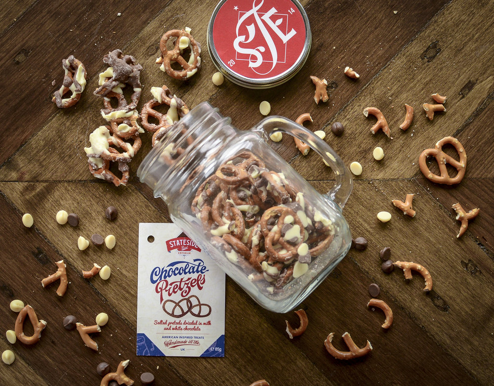 Chocolate Drizzled Pretzels in a Drinking Jar
