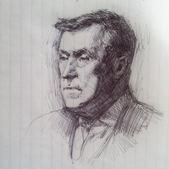 Sketched Jack Richeson today during Daniel Greene's demo. What a great face!  (at Hyatt Regency Reston)