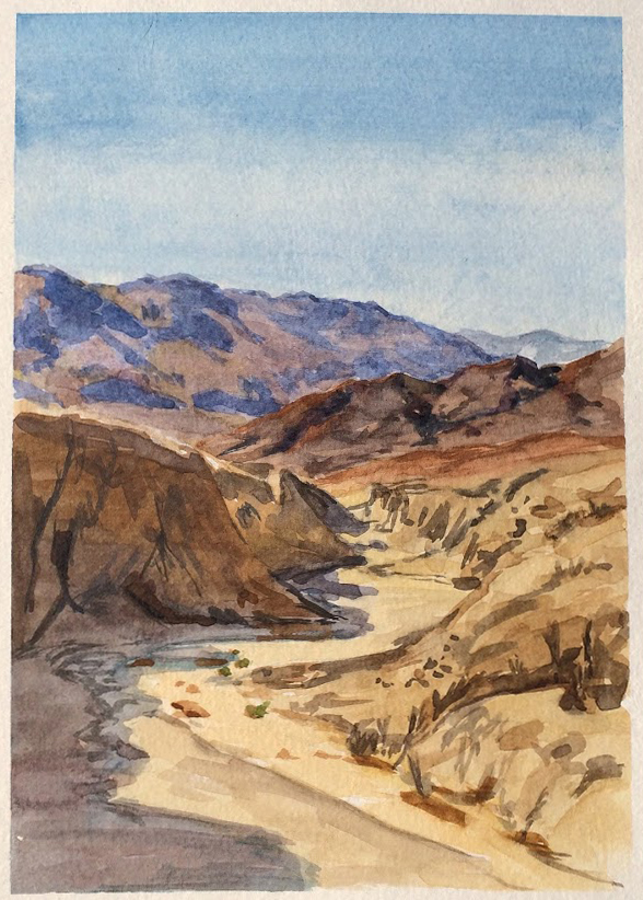 """View from Artist's Palette - Death Valley"", Watercolor on Paper"