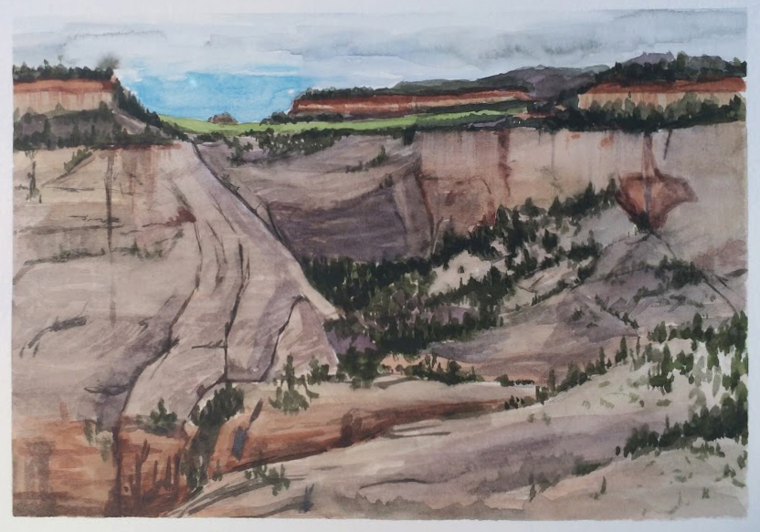 """View from Observation Point - Zion National Park"", Watercolor on paper"